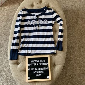 Navy and White Striped Aero Henley Style Shirt